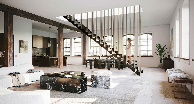 Escalier Dans Un Salon image de synthèse intérieure d'un loft de new york, États