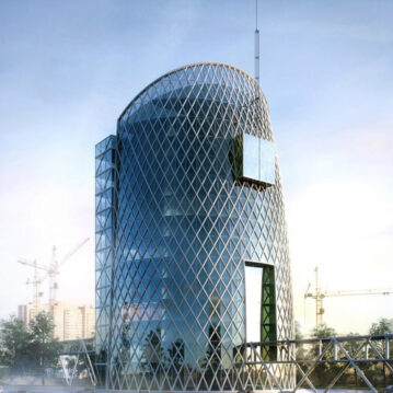 Visualisation architecturale conceptuelle d'un centre d'affaires